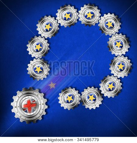 Brexit concept, 3D illustration. UK leaving the European Union. EU flag made of gears with stars with English cog coming out of the loop stock photo