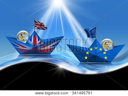 Brexit concept. United Kingdom and European Union paper boats with Euro and pound sterling symbol, on the waves of the sea. 3D illustration and photography stock photo
