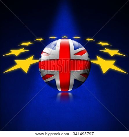 Brexit concept, 3D illustration. UK leaving the European Union. EU flag with UK flag in place of one of the stars stock photo