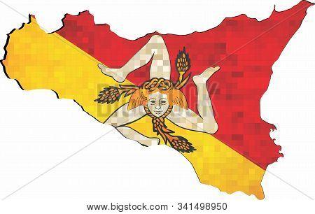 Grunge Sicily Map With Flag Inside - Illustration, \ The Head Of The Gorgon Medusa