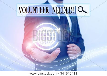 Handwriting text writing Volunteer Needed. Concept meaning asking demonstrating to work for organization without being paid. stock photo