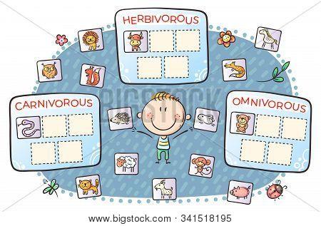 Task for kids, carnivorous, herbivorous and omnivorous animals stock photo