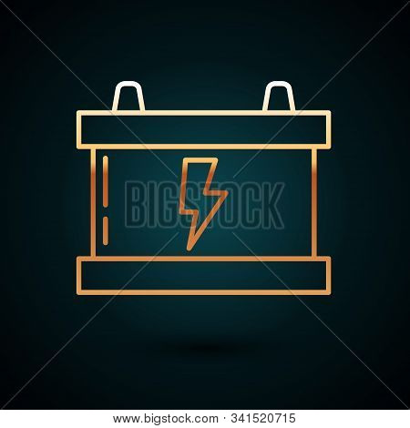 Gold line Car battery icon isolated on dark blue background. Accumulator battery energy power and electricity accumulator battery. Lightning bolt. Vector Illustration stock photo
