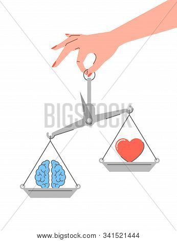 Logic vs emotions. Flat linear vector concept. Conflict between rational thinking and feelings. Female hand holds balance scales with brain symbol and heart icon. Pragmatic mind vs intuition stock photo