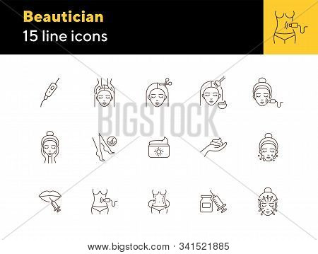Beautician line icon set. Female face, body weight, hair cutting. Beauty care concept. Can be used for topics like beauty salon, cosmetology, rejuvenation stock photo