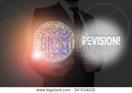 Word writing text Revision. Business concept for action of revising over someone like auditing or accounting Elements of this image furnished by NASA. stock photo