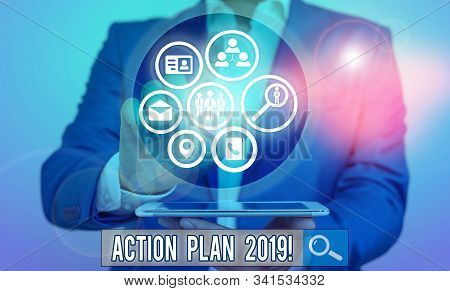 Conceptual hand writing showing Action Plan 2019. Business photo text proposed strategy or course of actions for current year. stock photo