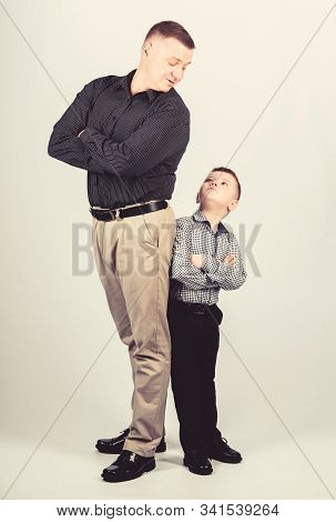 childhood. parenting. fathers day. father and son in business suit. happy child with father. business partner. little boy with dad businessman. family day. happy childhood. childhood concept stock photo