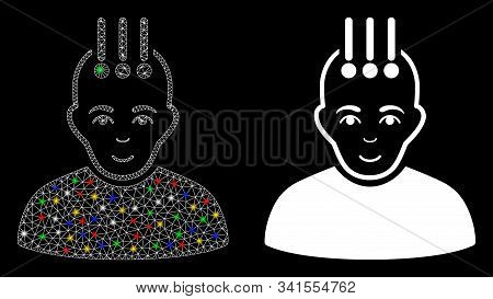 Glowing mesh neural interface icon with glitter effect. Abstract illuminated model of neural interface. Shiny wire frame polygonal mesh neural interface icon. Vector abstraction on a black background. stock photo