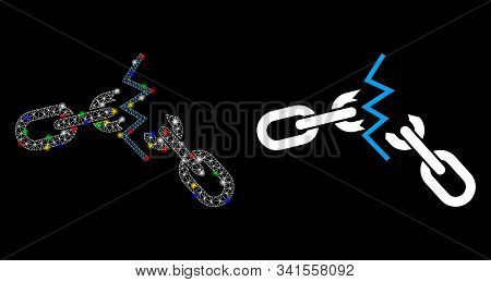 Glowing mesh broken chain icon with lightspot effect. Abstract illuminated model of broken chain. Shiny wire frame polygonal mesh broken chain icon. Vector abstraction on a black background. stock photo