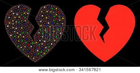 Glossy mesh broken heart icon with glare effect. Abstract illuminated model of broken heart. Shiny wire frame polygonal network broken heart icon. Vector abstraction on a black background. stock photo