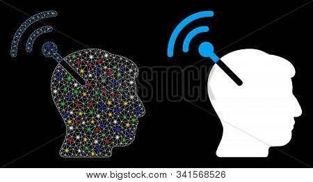 Glossy mesh radio neural interface icon with glitter effect. Abstract illuminated model of radio neural interface. Shiny wire carcass polygonal mesh radio neural interface icon. stock photo