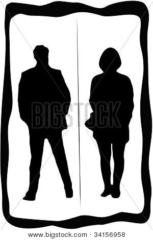 Toilet sign with man and woman with dividing line stock photo