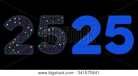 Bright mesh 25 digits text icon with glitter effect. Abstract illuminated model of 25 digits text. Shiny wire carcass polygonal mesh 25 digits text icon. Vector abstraction on a black background. stock photo