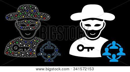 Glowing mesh social hacker icon with glow effect. Abstract illuminated model of social hacker. Shiny wire frame polygonal mesh social hacker icon. Vector abstraction on a black background. stock photo
