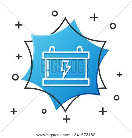 White line Car battery icon isolated on white background. Accumulator battery energy power and electricity accumulator battery. Lightning bolt. Blue hexagon button. Vector Illustration stock photo