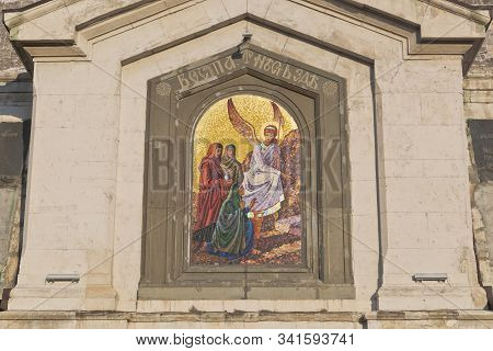 Mosaic painting of the Myrrh-bearing woman over the eastern portal of St. Nicholas Church in the city of Sevastopol, Crimea, Russia stock photo