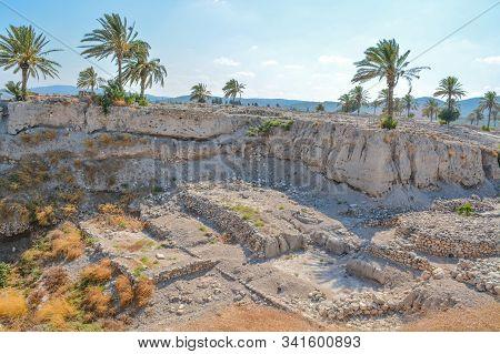 Sacred Temple area at Tel Megiddo National Park, World Heritage Site at Jezreel Valley, Israel stock photo