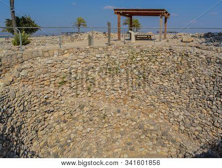 Public grain silo during the time of King Jeroboam. At Tel Megiddo National Park, World Heritage Site. City of Megiddo, Israel. stock photo