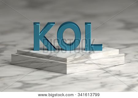 Bold blue letters KOL abbreviation of key opinion leader standing on marble pedestal. stock photo