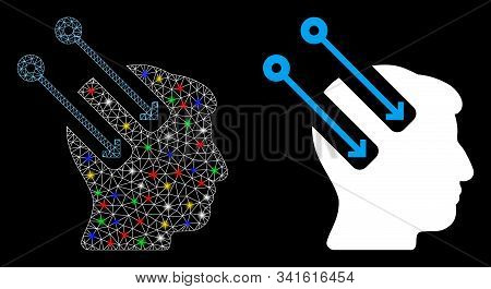 Glowing mesh neural interface icon with sparkle effect. Abstract illuminated model of neural interface. Shiny wire carcass triangular mesh neural interface icon. stock photo