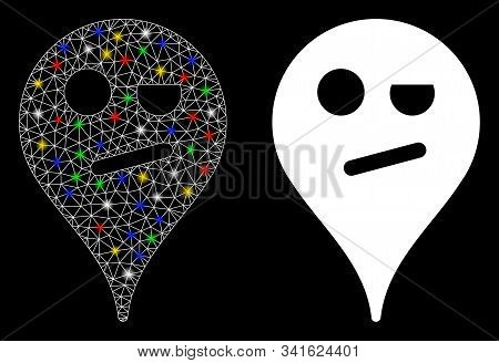 Glossy mesh infidelity smiley map marker icon with sparkle effect. Abstract illuminated model of infidelity smiley map marker. Shiny wire carcass polygonal network infidelity smiley map marker icon. stock photo