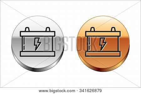 Black line Car battery icon isolated on white background. Accumulator battery energy power and electricity accumulator battery. Lightning bolt. Silver-gold circle button. Vector Illustration stock photo