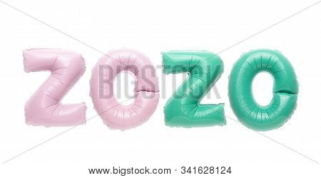 Isolated pink and mint numbers 2020 foil balloons on white background. Greeting card to celebrate 2020 Happy New Year with copy space stock photo