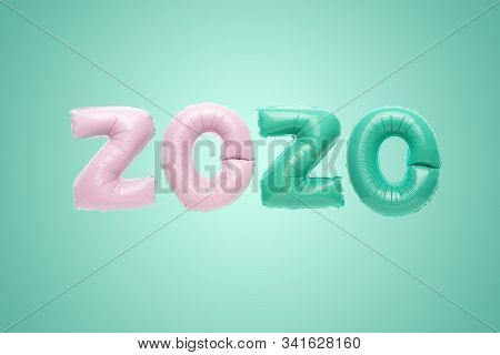 Flying pink and mint numbers 2020 foil balloons isolated on green background. Greeting card to celebrate 2020 Happy New Year with copy space stock photo
