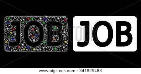 Flare mesh job caption icon with glow effect. Abstract illuminated model of job caption. Shiny wire carcass polygonal mesh job caption icon. Vector abstraction on a black background. stock photo