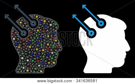 Glowing mesh neural interface plugs icon with glow effect. Abstract illuminated model of neural interface plugs. Shiny wire frame polygonal mesh neural interface plugs icon. stock photo