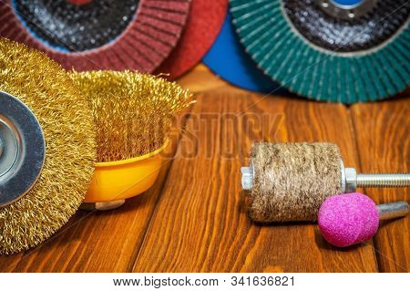 Set of abrasive tools and sandpaper still life on vintage wooden boards wizard is used for grinding items stock photo