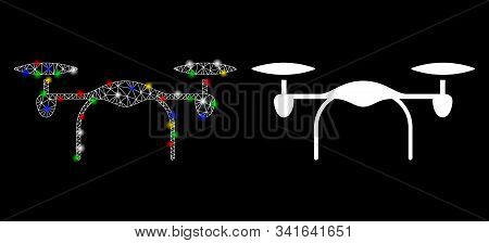 Bright mesh quadcopter icon with glow effect. Abstract illuminated model of quadcopter. Shiny wire frame triangular mesh quadcopter icon. Vector abstraction on a black background. stock photo