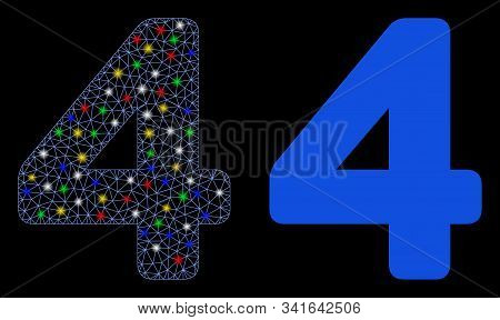 Bright mesh 4 digit icon with glow effect. Abstract illuminated model of 4 digit. Shiny wire carcass triangular mesh 4 digit icon. Vector abstraction on a black background. stock photo