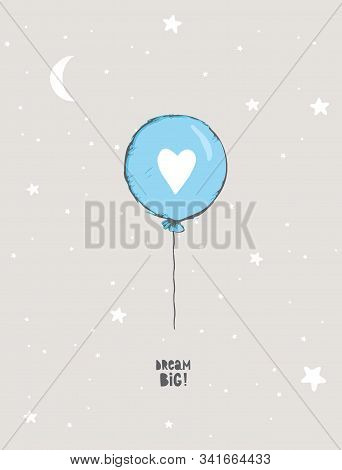 Cute Hand Drawn Blue Balloon Vector Illustration.Round Shape Blue Balloon with White Big Heart.Flying Air Balloon Isolated on a Light Gray Background. Lovely Nursery Art for Baby Boy Room Decoration. stock photo