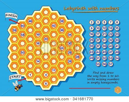 Labyrinth with numbers. Logic puzzle game with for children and adults. Find and draw the way from 1 to 60. Write missing numbers in empty honeycombs. Worksheet with maze for kids brain teaser book. stock photo