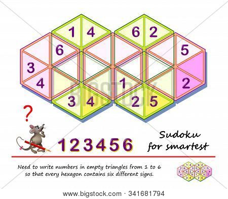 Logic puzzle game for the smartest. Need to write numbers in empty triangles from 1 to 6 so that every hexagon contains six different signs. Printable page for children brain teaser book. IQ test. stock photo