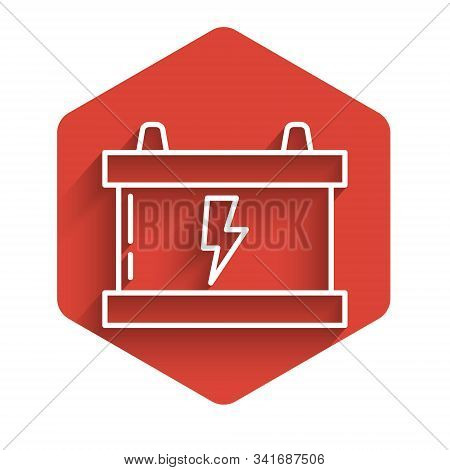 White line Car battery icon isolated with long shadow. Accumulator battery energy power and electricity accumulator battery. Lightning bolt. Red hexagon button. Vector Illustration stock photo
