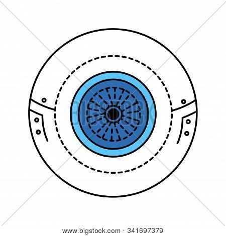 Bio artificial eye color line icon. Type of craniofacial prosthesis. Replaces an absent natural eye. Pictogram for web page, mobile app, promo. UI UX GUI design element. Editable stroke. stock photo