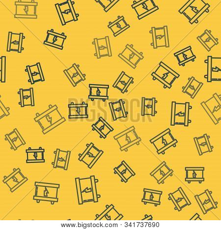 Blue line Car battery icon isolated seamless pattern on yellow background. Accumulator battery energy power and electricity accumulator battery. Lightning bolt. Vector Illustration stock photo