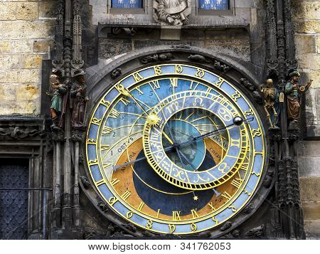 a dial of the astronomical clock in prague stock photo
