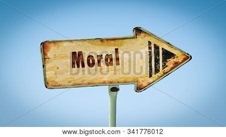 Street Sign the Direction Way to Moral stock photo