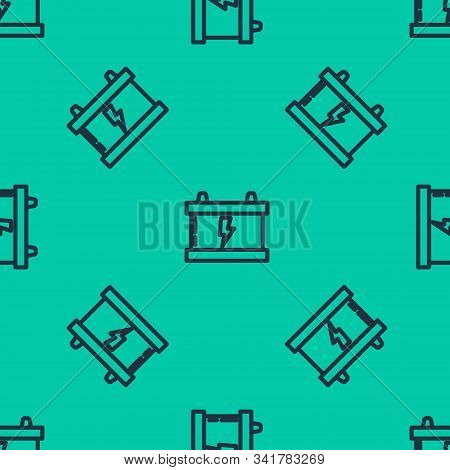 Blue line Car battery icon isolated seamless pattern on green background. Accumulator battery energy power and electricity accumulator battery. Lightning bolt. Vector Illustration stock photo