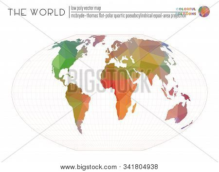 Abstract World Map. Mcbryde-thomas Flat-polar Quartic Pseudocylindrical Equal-area Projection Of The