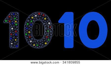 Flare mesh 10 digits text icon with glare effect. Abstract illuminated model of 10 digits text. Shiny wire frame triangular mesh 10 digits text icon. Vector abstraction on a black background. stock photo