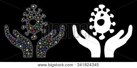 Glowing mesh biotechnology care hands icon with lightspot effect. Abstract illuminated model of biotechnology care hands. Shiny wire carcass triangular mesh biotechnology care hands icon. stock photo