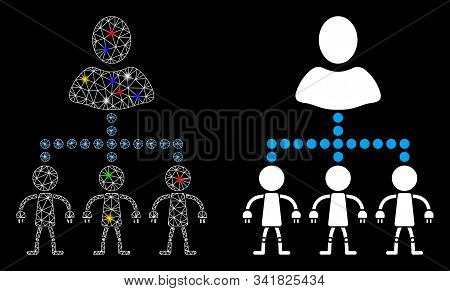 Bright mesh manage androids icon with lightspot effect. Abstract illuminated model of manage androids. Shiny wire frame polygonal mesh manage androids icon. Vector abstraction on a black background. stock photo