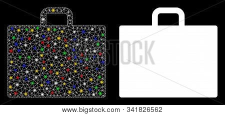 Flare mesh case icon with glare effect. Abstract illuminated model of case. Shiny wire carcass polygonal mesh case icon. Vector abstraction on a black background. stock photo