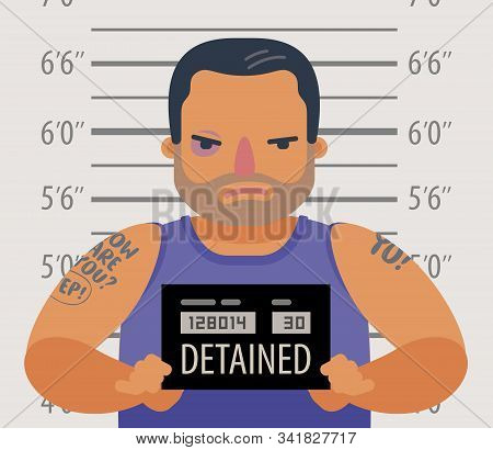 Detained dangerous criminal. Prisoner, convicted cartoon vector illustration stock photo