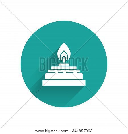 White Alcohol or spirit burner icon isolated with long shadow. Chemical equipment. Green circle button. Vector Illustration stock photo
